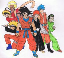 Band of Heroes colored, shonen jump fan art by AnimationsByRobert
