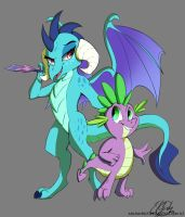 Ember and Spike by Elicitie