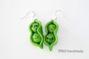 Kawaii Peas Earrings by virahandmade