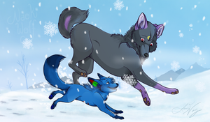 Playing in the Snow by Naoki-Wolf