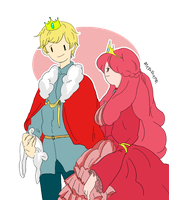 Queen Bubblegum and Finn the King by memmemn