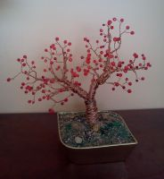 Copper Wire Tree Beaded by LadyDracos