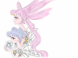 Waiting...Lady Usagi and Future Lady of the Moon by RedRibbon21