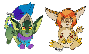Pie and Thorn Chibis by CALLYKITTY