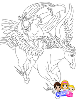 Pegasus and Bellerophon by Writer-Colorer