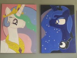 Princess Celestia and Luna canvases by Flutter-Rainbow-pie