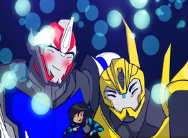 Request: Smokescreen bee and OC by NecromancyInc