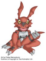 Guilmon holding his tail by yuski