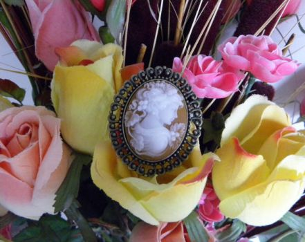 Tan Woman Cameo Brooch in Bronze Setting by Minervatheory
