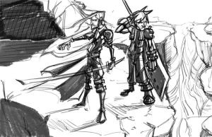 Cloud and Sephiroth by SkipperWing
