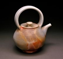 Wood Fired Teapot with Flashing by MBrownCeramics
