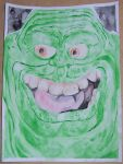 Slimer acrylic painting by Calcifer-Boheme