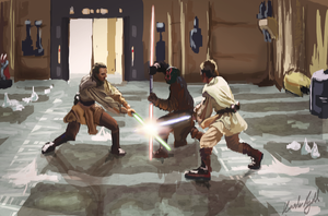Qui-gon and Obi Wan vs Darth Maul by Kritzlof