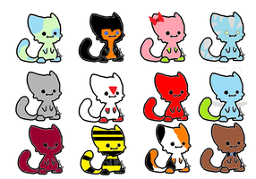 Chibi cat adoptables batch 1 (11/12 left! FREE) by Equinoxthealicorn