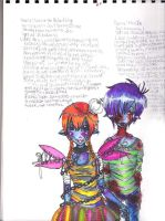 Satine and Musix writing. by squiditha
