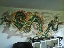 Chinese Dragon - mural by linkerart