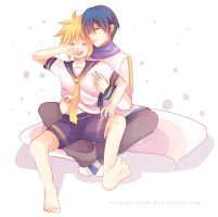 -- Kaito x Len commission for PlaymakerM19 07 -- by Kurama-chan