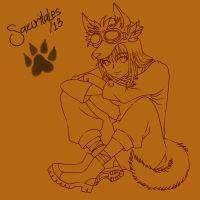 Sakura Wolf Lineart by Les--Chan