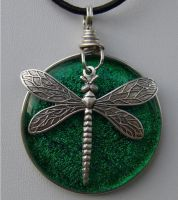 Dragonfly Over Fused Emerald by FusedElegance