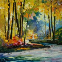 Morning stream by Leonid Afremov by Leonidafremov