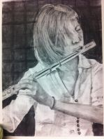 Shannon playing the flute by Reshmie