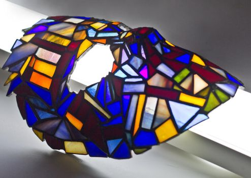 Stained glass goalie mask Tiffany technique 2 by zyklodol