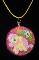 Fluttershy resin pendant by TashaAkaTachi