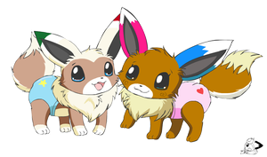 Baby Eevees by pichu90