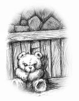 Sulking Teddy Bear by the wall by Gib-Pinups-And-Toons