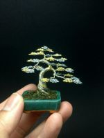 Two-tone upright wire bonsai tree by Ken To by KenToArt