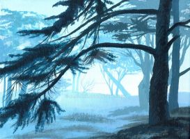 Fog in the forest by Oladara