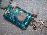 Mommy and Baby Penguin Under resin Pendant by PoniesOfDOOOM