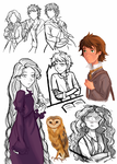 ROTBTD-Hogwarts AU AU sketches by moonlight-dragonart
