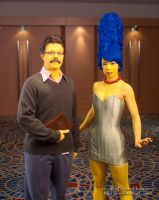 Marge Simpson and Ned Flanders by gstqfashions