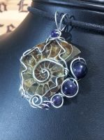 Ammonite with Amethyst in Silver by BacktoEarthCreations