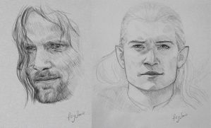 Aragorn and Legolas sketches by Feyjane