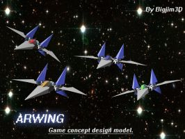 Arwing- Game tech concept design model. by Bigjim3D