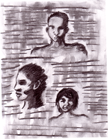 Charcoal Faces by Zalein
