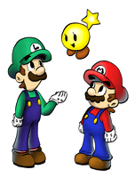 Mario, Luigi and Starlow by BabyAbbieStar