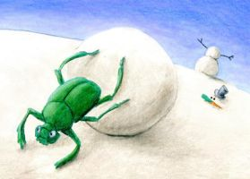 Dung Beetle Building a Snowman ATC by tursiart