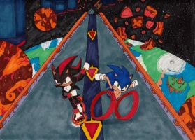 Sonic Vs Shadow: The Infinite Sapce Highway by RedWingsDragon