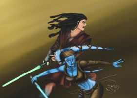 Quinlan Vos and Aayla Secura by Ravens-Rook