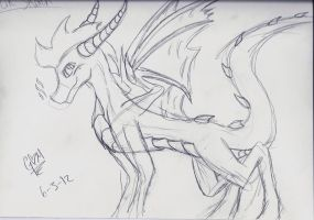 Spyro quick sketch by Silverthehedgehog747