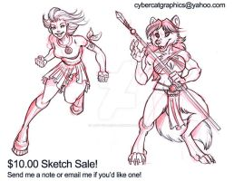 $10 Commission Sketch Sale by lady-cybercat