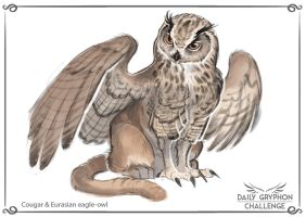 Gryphon Challenge 20 : Euras. eagle-owl and Cougar by GaiasAngel