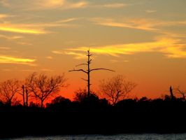 river sky at sunset by CorazondeDios