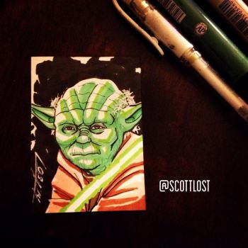 Yoda sketchcard by Scott-Lost