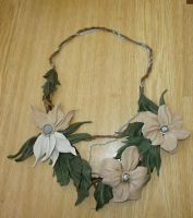 Leather flower necklace by kessan