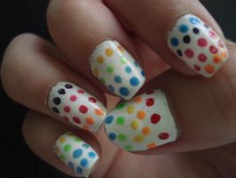 Rainbow dots nails by PJopE