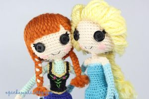 Anna And Elsa Crochet Amigurumi Dolls by Npantz22